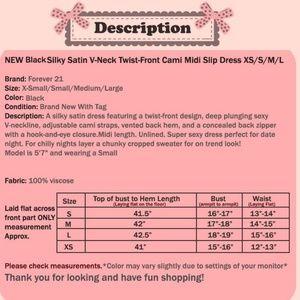 Forever 21 Dresses - Black Silky Satin Twist Front Midi Slip Dress